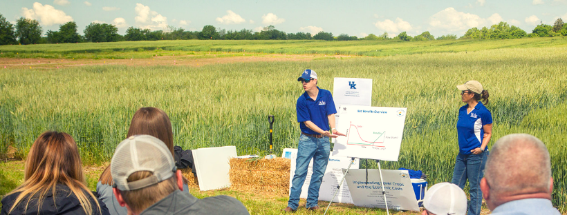 Jordan Shockley presenting information at the Wheat Science Field Day.